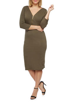 Plus Size 3/4 Sleeve Midi Dress with Zip Neck - OLIVE - 1390058752051