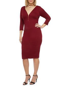 Plus Size 3/4 Sleeve Midi Dress with Zip Neck - 1390058752051