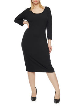 Plus Size Rib Knit Scoop Neck  Dress - BLACK - 1390058752130