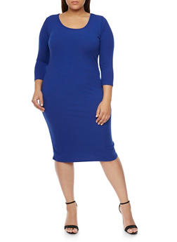 Plus Size Rib Knit Scoop Neck  Dress - 1390058752130