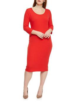 Plus Size Rib Knit Scoop Neck  Dress - RED - 1390058752130