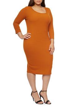 Plus Size Rib Knit Scoop Neck  Dress - RUST - 1390058752130
