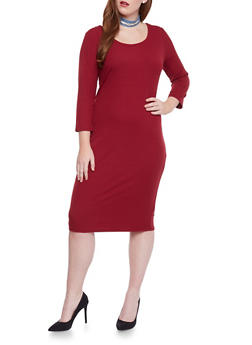 Plus Size Rib Knit Scoop Neck  Dress - BURGUNDY - 1390058752130
