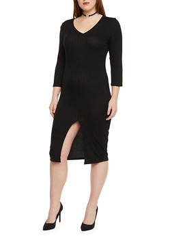 Plus Size Rib Knit Bodycon Dress with Slit Hem - BLACK - 1390058752131