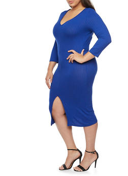 Plus Size Rib Knit Bodycon Dress with Slit Hem - 1390058752131