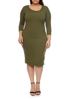 Plus Size Bodycon Midi Dress - OLIVE - 1390058752132