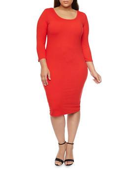 Plus Size Bodycon Midi Dress - RED - 1390058752132