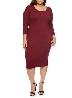 Plus Size Bodycon Midi Dress - BURGUNDY - 1390058752132