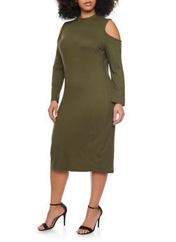 Plus Size Cold Shoulder Long Sleeve Dress - OLIVE - 1390058752133