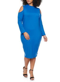 Plus Size Cold Shoulder Long Sleeve Dress - 1390058752133