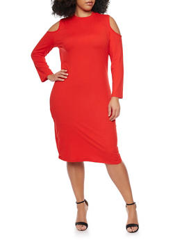 Plus Size Cold Shoulder Long Sleeve Dress - 1390058752133