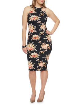 Plus Size Sleeveless Floral Print Midi Dress - 1390058752139