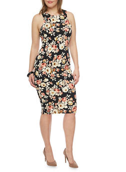 Plus Size Sleeveless Floral Print Midi Dress - 1390058752140