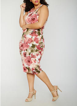 Plus Size Floral Print Midi Dress - 1390058752142