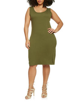 Plus Size Solid Tank Dress - OLIVE - 1390058752281