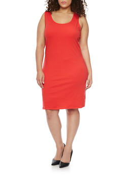 Plus Size Solid Tank Dress - 1390058752281