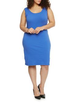 Plus Size Solid Tank Dress - 1390058752281