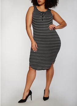 Plus Size Striped Lace Up Rib Knit Tank Dress - CHARCOAL - 1390058752336