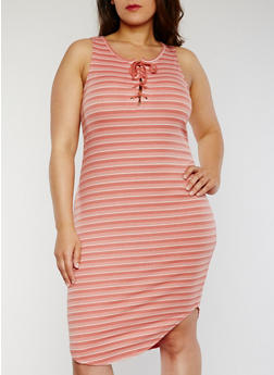 Plus Size Striped Lace Up Rib Knit Tank Dress - MAUVE - 1390058752336