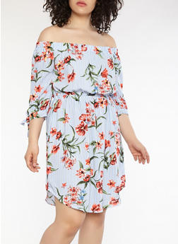 Plus Size Striped Floral Off the Shoulder Dress - 1390058752404