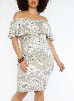 Plus Size Soft Knit Off the Shoulder Floral Dress - 1390058752410