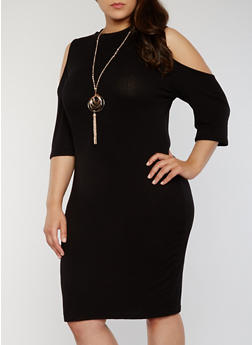 Plus Size Rib Knit Cold Shoulder Bodycon With Necklace - BLACK - 1390058752610