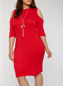 Plus Size Rib Knit Cold Shoulder Bodycon With Necklace - 1390058752610