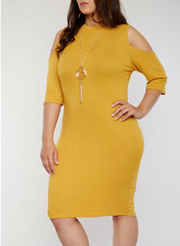 Plus Size Rib Knit Cold Shoulder Bodycon With Necklace - MUSTARD - 1390058752610