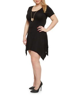 Plus Size Asymmetrical Hem Dress with Necklace - BLACK - 1390058752612