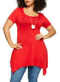 Plus Size Asymmetrical Hem Dress with Necklace - 1390058752612
