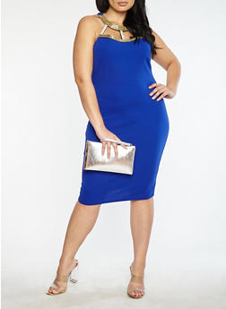 Plus Size Jewel Neck Bodycon Dress - 1390058753348