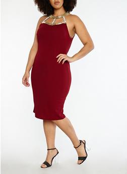 Plus Size Jewel Neck Bodycon Dress - 1390058753348
