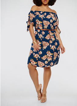 Plus Size Printed Off the Shoulder Dress - 1390058753463