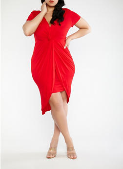 Plus Size Knot Front Bodycon Dress - RED - 1390058753466