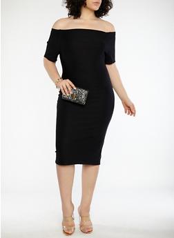 Plus Size Off the Shoulder Bandage Dress - BLACK - 1390058753468