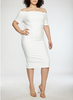 Plus Size Off the Shoulder Bandage Dress - 1390058753468