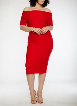 Plus Size Off the Shoulder Bandage Dress - 1390058753468