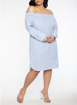 Plus Size Striped Off the Shoulder Dress - 1390058753500