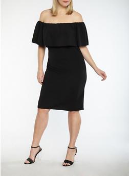 Plus Size Crepe Knit Off the Shoulder Dress - BLACK - 1390058753505
