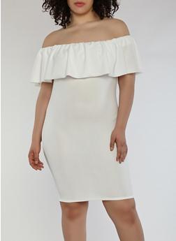 Plus Size Crepe Knit Off the Shoulder Dress - WHITE - 1390058753505
