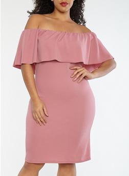 Plus Size Crepe Knit Off the Shoulder Dress - MAUVE - 1390058753505