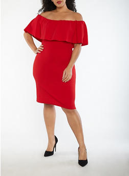 Plus Size Crepe Knit Off the Shoulder Dress - 1390058753505