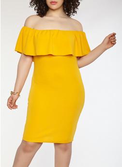 Plus Size Crepe Knit Off the Shoulder Dress - 1390058753505