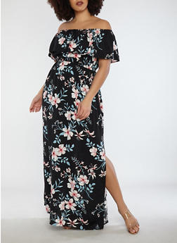 Plus Size Floral Off the Shoulder Maxi Dress - 1390058753508