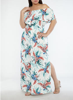 Plus Size Off the Shoulder Floral Maxi Dress - 1390058753509