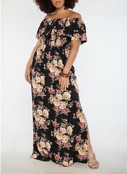 Plus Size Off the Shoulder Floral Maxi Dress - 1390058753511