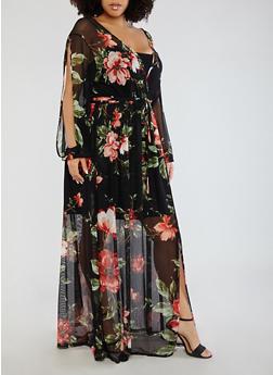 Plus Size Floral Mesh Faux Wrap Dress - 1390058753514