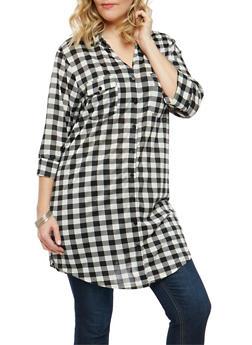 Plus Size Plaid Button Front Tunic - 1390058753540