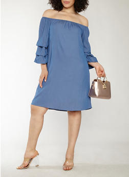 Plus Size Off the Shoulder Chambray Dress - 1390058753576