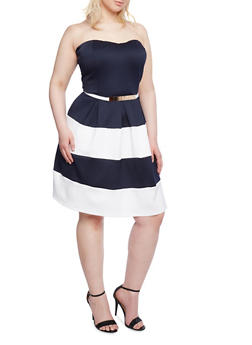 Plus Size Strapless Belted Dress in Stripes - 1390058758409